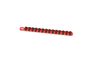 "13"" Magnetic Socket Organizer and 14 Twist Lock Clips - Red - 3/8"""