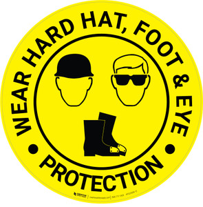 Wear Hard Hat, Foot & Eye Protection with Icons - Floor Sign