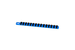 "13"" Magnetic Socket Organizer and 15 Twist Lock Clips - Blue - 1/4"""