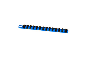"13"" Magnetic Socket Organizer and 14 Twist Lock Clips - Blue - 3/8"""