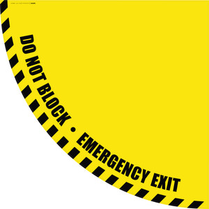 Do Not Block Emergency Exit - Yellow Half Swing Door Sign