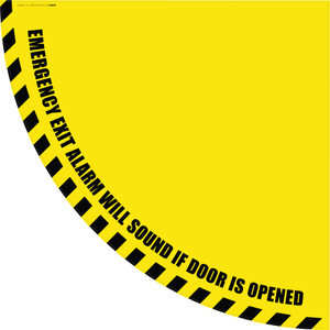 Emergency Exit Alarm Will Sound if Door is Opened - Yellow Half Swing Door Sign