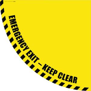 Emergency Exit Keep Clear - Yellow Half Swing Door Sign