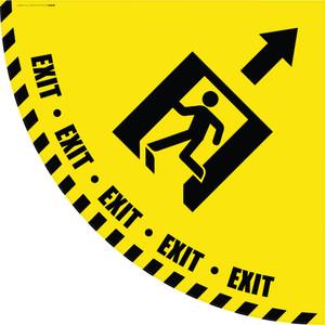 Exit Man Icon with Arrow - Yellow Half Swing Door Sign