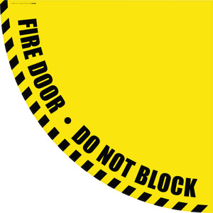 Fire Door Do Not Block - Yellow Half Swing Door Sign