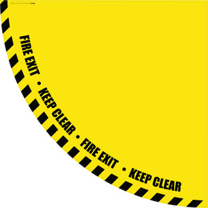Fire Exit Keep Clear - Yellow Half Swing Door Sign