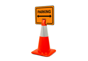 Parking with Arrows Clip-On Cone Sign