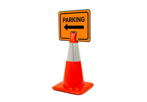 Parking with Left Arrow Clip-On Cone Sign