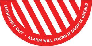 Emergency Exit Alarm Will Sound if Door is Opened - Full Swing Door Sign