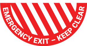 Emergency Exit Keep Clear - Full Swing Door Sign