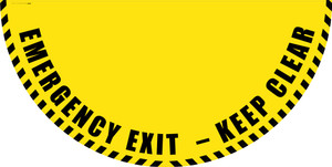 Emergency Exit Keep Clear - Yellow Full Swing Door Sign