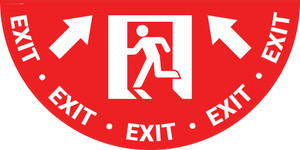 Exit Man Icon with Arrow - Full Swing Door Sign