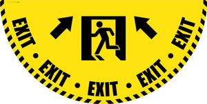 Exit Man Icon with Arrow - Yellow Full Swing Door Sign