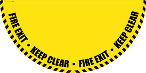Fire Exit Keep Clear - Yellow Full Swing Door Sign