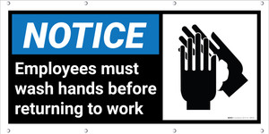 Notice: Employees Must Wash Hands Banner