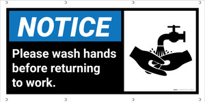 Notice: Please Wash Hands Before Returning Banner