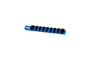 "8"" Magnetic Socket Organizer and 9 Socket Clips - Blue - 1/4"""