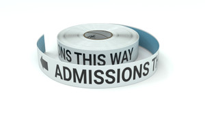 Admissions This Way With Left Arrow - Inline Printed Floor Marking Tape