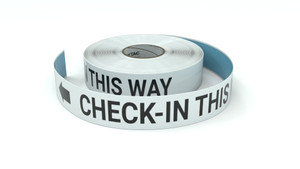 Check-in This Way With Left Arrow - Inline Printed Floor Marking Tape