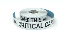 Critical Care This Way With Left Arrow - Inline Printed Floor Marking Tape