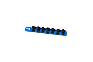 "8"" Magnetic Socket Organizer and 7 Socket Clips - Blue - 1/2"""