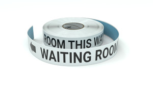 Waiting Room This Way With Left Arrow - Inline Printed Floor Marking Tape