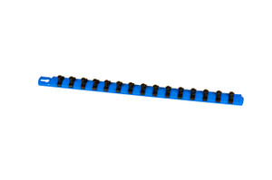"18"" Socket Organizer and 15 Twist Lock Clips - Blue - 3/8"""