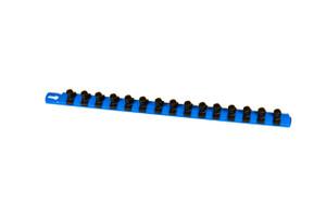 "18"" Socket Organizer and 15 Twist Lock Clips - Blue - 1/2"""