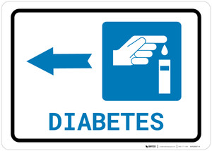 Diabetes Left Arrow with Icon Landscape - Wall Sign