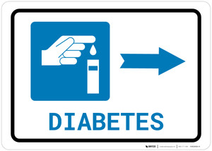 Diabetes Right Arrow with Icon Landscape - Wall Sign