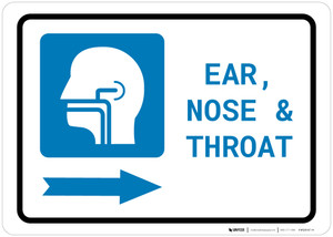 Ears, Nose, and Throat (ENT) Right Arrow with Icon Landscape - Wall Sign