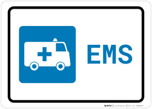 Emergency with First Aid Symbol Landscape - Wall Sign