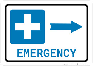 Emergency Right Arrow with Icon Landscape - Wall Sign