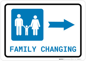 Family Changing Right Arrow with Icon Landscape - Wall Sign