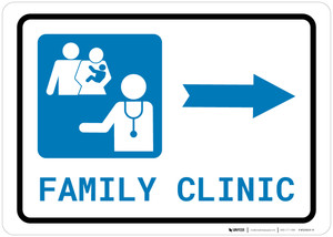 Family Health Clinic Right Arrow with Icon Landscape - Wall Sign