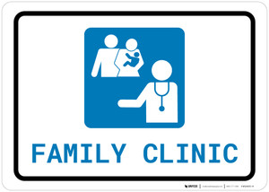 Family Health Clinic with Icon Landscape - Wall Sign
