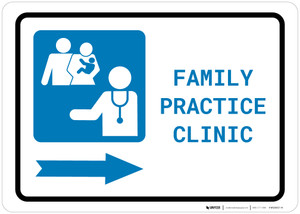 Family Practice Clinic Right Arrow with Icon Landscape - Wall Sign
