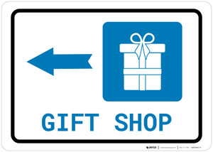 Gift Shop Left Arrow with Icon Landscape - Wall Sign