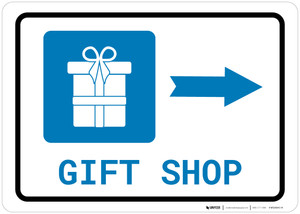 Gift Shop Right Arrow with Icon Landscape - Wall Sign