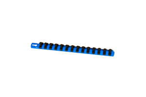 "13"" Socket Organizer and 14 Twist Lock Clips - Blue - 3/8"""