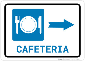 Cafeteria (with Symbol) Right Arrow Landscape - Wall Sign