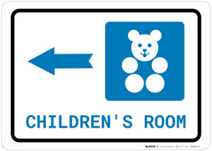 Children's Room Left Arrow with Icon Landscape - Wall Sign