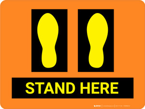 Stand Here Orange with Foot Prints - Floor Sign