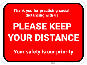 Social Distancing - Please Keep Your Distance - Floor Sign