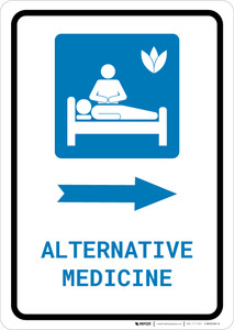 Alternative Medicine Right Arrow with Icon Portrait - Wall Sign