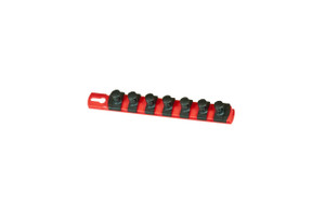 "8"" Socket Organizer and 7 Socket Clips - Red - 1/2"""