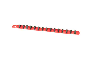"18"" Socket Organizer and 15 Dura-Pro HD Clips - Red - 3/8"""
