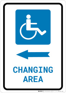 ADA Accessible Changing Area Left Arrow with Icon Portrait - Wall Sign