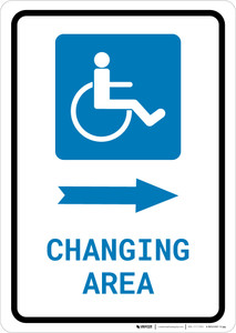 ADA Accessible Changing Area Right Arrow with Icon Portrait - Wall Sign
