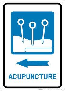 Acupuncture Left Arrow with Icon Portrait - Wall Sign